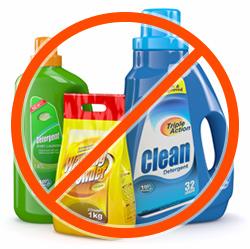 Geen afwasmiddelen